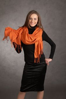 Free Model With A Orange Scarf Stock Photo - 9440330