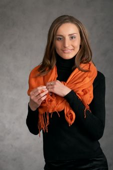 Free Model With A Orange Scarf Stock Images - 9440364