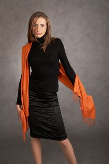 Free Model With A Orange Scarf Stock Images - 9440374