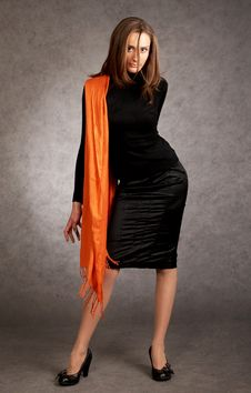 Free Model With A Orange Scarf Stock Photography - 9440412