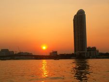 Free Sunset Over The River Chao Phraya Stock Photo - 9440420
