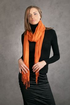 Free Model With A Orange Scarf Stock Photography - 9440452