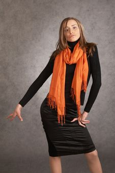 Free Model With A Orange Scarf Royalty Free Stock Photo - 9440475