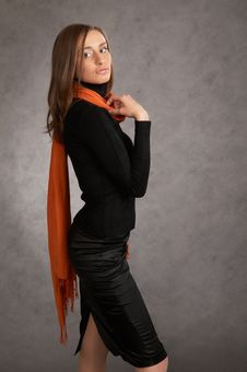 Free Model With A Orange Scarf Royalty Free Stock Photography - 9440487