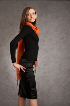 Free Model With A Orange Scarf Royalty Free Stock Photos - 9440508