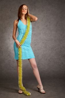 Free Young Model In A Blue Dress Royalty Free Stock Image - 9440836