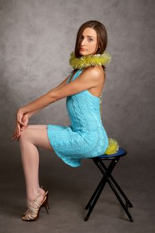 Free Young Model In A Blue Dress Royalty Free Stock Photography - 9440857