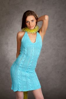 Young Model In A Blue Dress Stock Images