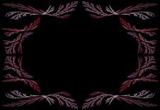 Leafy Pink And Lavender Fractal Frame With Black C Royalty Free Stock Photo