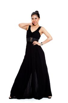 Free Young Woman Smile In Long Black Dress Stock Photography - 9442282