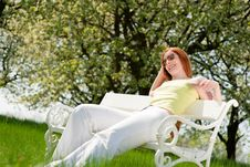 Free Woman Relax Under Blossom Tree In Summer Royalty Free Stock Image - 9442456