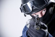 The Soldier Holding The Weapon Stock Images