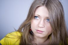 Free Beautiful Girl Blonde With Blue Eyes Stock Photography - 9444702