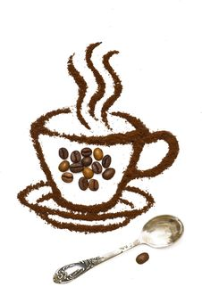 Free Drawing From Coffee Grains Stock Photography - 9444772