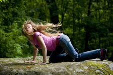 Free Beautiful Girl Blonde With Blue Eyes Royalty Free Stock Image - 9444896