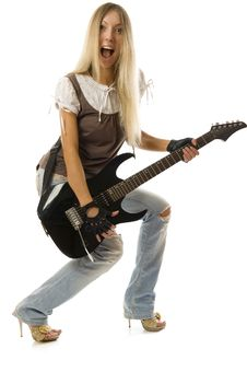 The Shouting Girl With Black Guitar Royalty Free Stock Photography