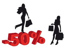 Free Shopping Girls And Discounts Royalty Free Stock Photography - 9446047