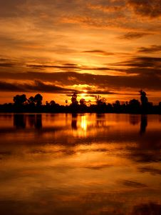 Free Sunset In Cambodia Stock Photos - 9446303