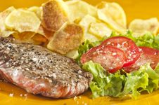 Free Steak And Chips Stock Photo - 9446770