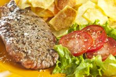 Free Steak And Chips Stock Photography - 9446792