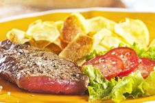 Free Steak And Chips Royalty Free Stock Image - 9446836