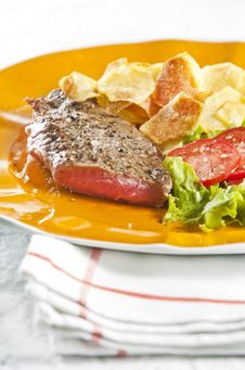 Free Steak And Chips Stock Image - 9446841