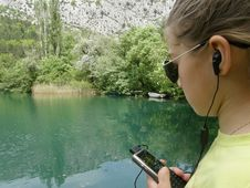 Free Cellular Girl And River Stock Photos - 9447203