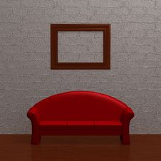 Free Red Couch With Empty Frame Stock Photography - 9447672