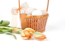 Free Eggs In A Basket And Tulips Royalty Free Stock Images - 9447989