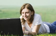 Free Girl With Laptop Royalty Free Stock Photo - 9448175