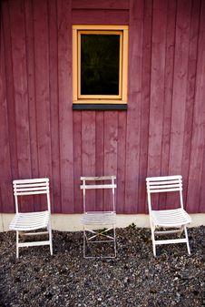 Free Three White Chairs Royalty Free Stock Image - 9449546