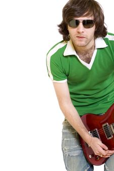 Guitarist Playing His Electric Guitar Royalty Free Stock Image
