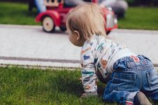 Free Toddler Crawling On Green Grass Royalty Free Stock Photo - 94484345