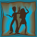 Free Retro Dancing In Blue Royalty Free Stock Photos - 9452598