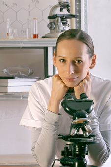 Scientist With Microscope Stock Images
