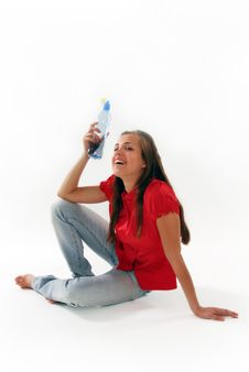 The Woman With A Water Bottle Stock Images