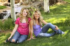 Free Two Teenage Girls Posing For A Portrait Stock Photo - 9452410