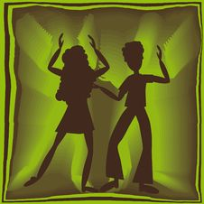 Free Retro Dancing In Green Royalty Free Stock Images - 9452599