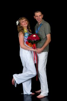 Young Happy Wedding Couple Royalty Free Stock Photography