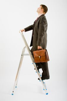 Free Business Man With Ladder Royalty Free Stock Photos - 9455638