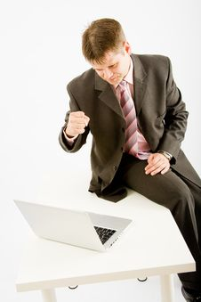 Young Business Man With Laptop Royalty Free Stock Images