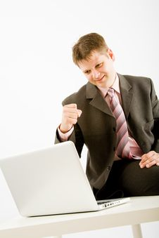 Free Young Business Man With Laptop Stock Photos - 9456293