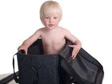 Cute Child Into Bag Stock Photos
