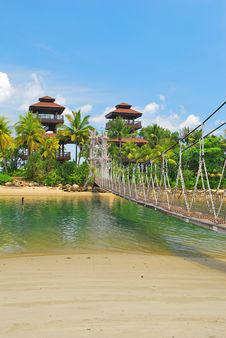 Wooden Suspension Bridge To Paradise Stock Photography