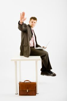 Free Young Business Man With Laptop Royalty Free Stock Image - 9456616