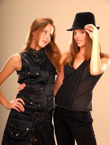 Free Attractive Twin Girls In Black Clothes Stock Photo - 9457120