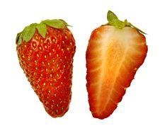 Free Two Half Strawberry Close Up Royalty Free Stock Photography - 9458057