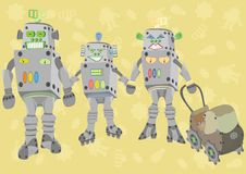Free Happy Family Of Robots Royalty Free Stock Photos - 9458928