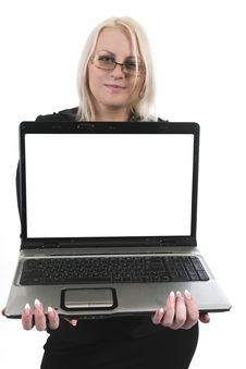 Free Business Woman With Laptop Stock Photos - 9459493