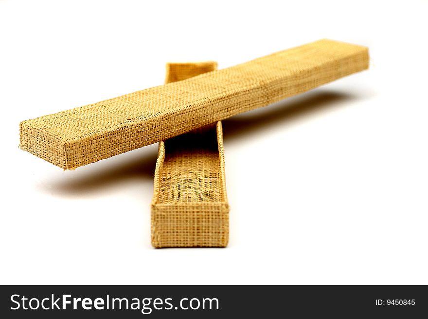 Wicker box of straw for present